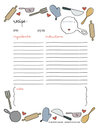 free printable recipe pages printable recipe page template