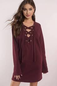 maroon sweater dress sweater dresses oversized sleeve turtleneck tobi
