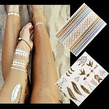 2styles lot diy gold metallic tatoo temporary flash tattoo