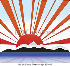illustration land with rising sun clip vector search