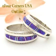 American Wedding Rings by Purple Opal Inlay Band Rings Navajo Wedding Rings Four Corners