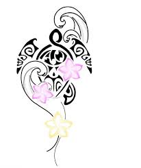 pink flowers and tribal turtle design