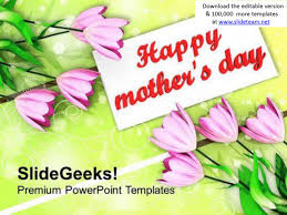 bouquet of tulips on mothers day powerpoint templates ppt
