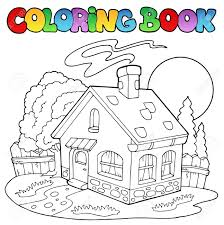 coloring book with small house royalty free cliparts vectors and