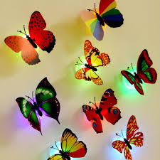 online buy wholesale flashing sticker from china flashing sticker 10pcs pack wall night lights decoration mix color butterfly wall stickers night light flashing colorful