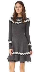 fair isle sweater dress shop valentino fair isle sweater dress grey combo in grey