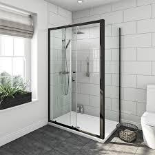 800 Shower Door Mode Tate Black 6mm Sliding Shower Enclosure 1200 X 800