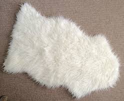 Ikea White Rug Bedroom Classic Round Pelt Accent Faux Sheepskin Rug For