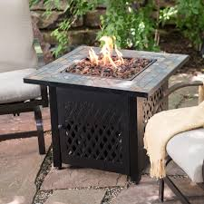 patio table heaters propane uniflame slate mosaic propane fire pit table with free cover