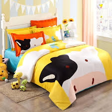 Girls Jungle Bedding by Yellow White Black And Orange Cartoon Cow Print Jungle Animal Chic