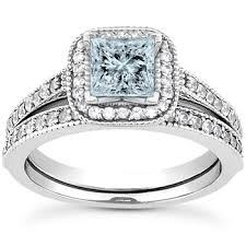 engagement rings set images Princess cut aquamarine diamond halo engagement ring set jpg