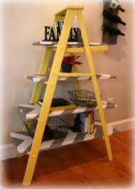 Leaning Ladder Bookcases by Vintage Yellow Wooden Leaning Ladder Shelf Build It Or Buy It