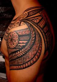 samoan polynesian shoulder tattoo real photo pictures images