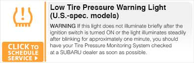 subaru low tire pressure light subaru dashboard indicator light service information