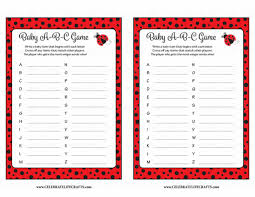 baby abc u0027s baby shower game ladybug baby shower theme for baby