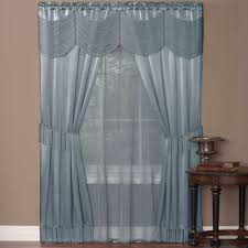 sheer curtains drapes window treatments the home depot sheer halley ice blue window curtain set 56 in w