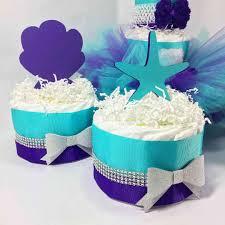 aqua u0026 purple under the sea tutu diaper cake centerpiece set tutu