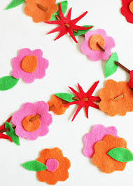 flower felt garland for summer thistlewood farm