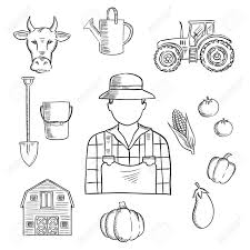 sketch of farmer or farm worker with tractor barn fresh tomatoes