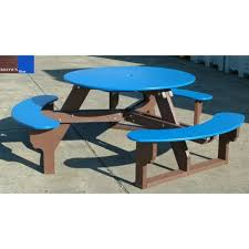 recycled plastic picnic tables 46 round recycled plastic picnic table with easy access 212 lbs