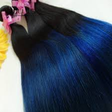 Brazilian Extensions Hair by Grade 7a Brazilian Ombre Straight Blue Black Hair Extensions 1b