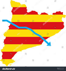 White Blue Orange Flag Blue Arrow Down On Flag Barcelona Stock Illustration 730171600