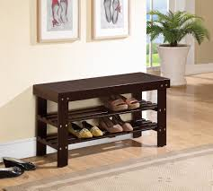 furniture black wooden pull out shoe storage bench combined with