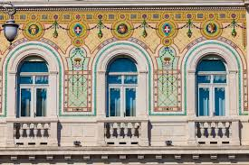 vintage historical building facade with antique decorations