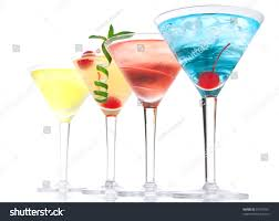 blue raspberry margarita popular alcoholic cocktails composition many cocktail stock photo