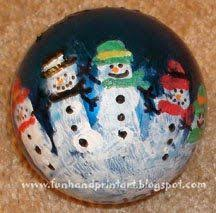 i made these wonderful handprint snowman family ornaments with my