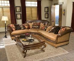 hand carved exposed wood frame sectional sofa