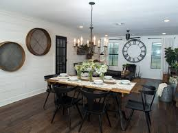 hgtv dining room lighting chip and joanna gaines transform a barn into a rustic home perfect