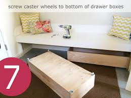 add a drawer under a table ana white under bench trundle drawers mudroom diy projects
