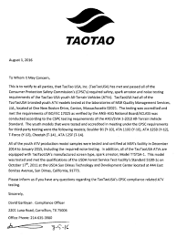 atv safety taotao usa inc