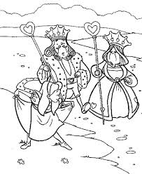 alice bowing king queen heart wonderland coloring