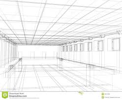 3d sketch of an interior public building stock photo image 5010150