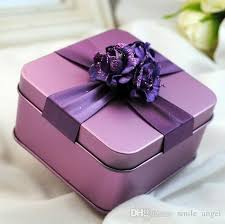 purple wedding favors new metal candy boxes square with flowers gold purple tiffane
