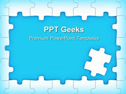 blue puzzle frame business powerpoint templates and powerpoint