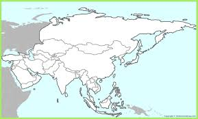 asia map with countries of continent clickable to asian