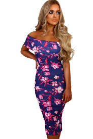 multi floral bardot bodycon midi dress so summer holiday
