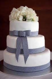 blue and white striped ribbon this cake minus the bow and flowers wed