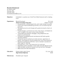 Resume Objective Examples For Receptionist by Hotel Resume Objective Examples Front Desk Clerk Resume Example