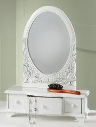 white wooden mirror table top vanity shabby chic dressing room