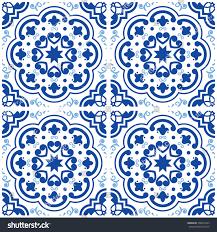 spanish floor azulejos portuguese tile floor pattern lisbon stock vector