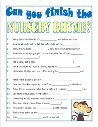 baby shower game can you finish the nursery rhyme super easy