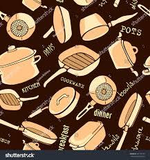 seamless pattern kitchen utensils titles cookware stock vector