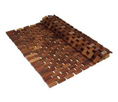 Teak Wood Folding Teak Wood Bath Shower Mat With Non Slip Feet Easily Rolls