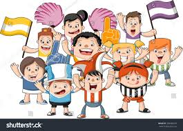 group cartoon sport fans supporters cheering stock vector