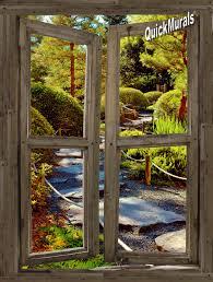 stone path cabin window 1 piece peel stick canvas wall mural