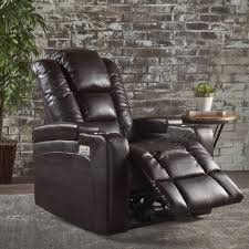 everette tufted brown leather power recliner with arm storage and